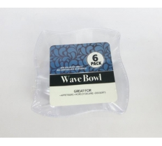 SNACK BOWL WAVE SQUARE CLEAR 6PK