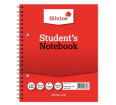 SILVINE TWIN WIRE STUDENTS NOTEBOOK 203MM X 163MM 120 PAGES