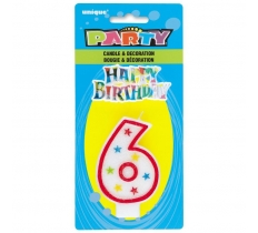 NUMBER 6 GLITTER BIRTHDAY CANDLE & DECORATION
