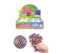 7CM SQUISHY MESH NET BALL WITH COLOUR BEADS