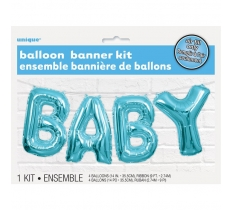 Blue Baby Foil Letter Balloon Banner Kit 14""