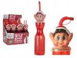 450ML CLEAR RED PLASTIC BOTTLE WITH ELF HEAD AND STRAW