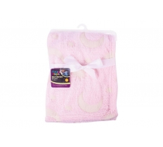 GLOW IN THE DARK BABY BLANKET 70x 90cm PINK
