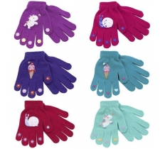 GIRLS THERMAL MAGIC GLOVE WITH RUBBER PRINT