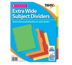 TIGER INDEX EXTRA WIDE 5 PART CARD DIVIDERS