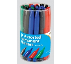 Bullet Tip 2mm Permanent Assorted Markers X 24 ( 21p Each )