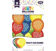 10PK PARTY BALLOONS MULTI