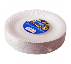 "9"" ( 23CM ) WHITE PAPER DISPOSABLE PLATES 100 PACK"
