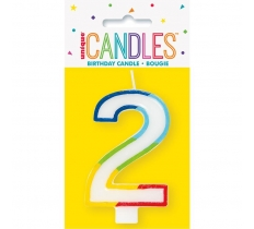 RAINBOW BORDER NUMBER BIRTHDAY CANDLE 2