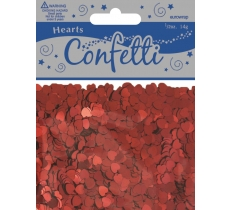 METALLIC 6MM HEARTS RED CONFETTI