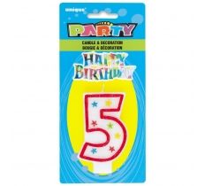 NUMBER 5 GLITTER BIRTHDAY CANDLE & DECORATION