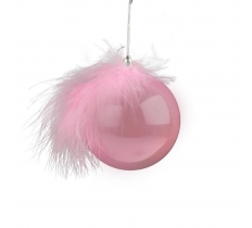 8CM PINK PEARL BAUBLE & FEATHER