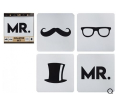 4pc MR LOGO PRINTED COASTER SET