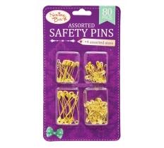 Gold Assorted Safety Pins 80 Pack