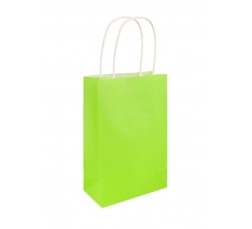 NEON GREEN BAG WITH HANDLES 14X21X7CM