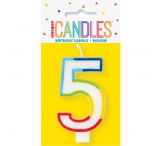 RAINBOW BORDER NUMBER BIRTHDAY CANDLE 5