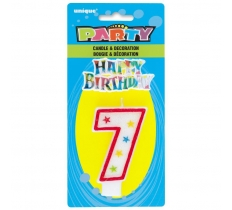 NUMBER 7 GLITTER BIRTHDAY CANDLE & DECORATION
