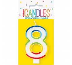 RAINBOW BORDER NUMBER BIRTHDAY CANDLE 8