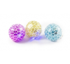 LIGHT UP 6CM SQUISHY MESH NET BALL WITH GLITTER