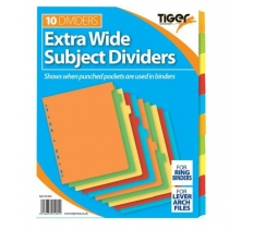 TIGER INDEX EXTRA WIDE 10 PART CARD DIVIDERS