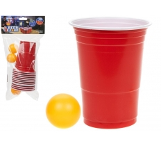 18PC BEER PONG IN PP BAG WITH HEADER CARD - 12 CUPS/6 BALLS