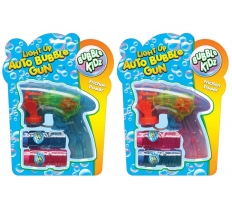 LIGHT UP AUTO BUBBLE GUN WITH 2 BUBBLE TUBS