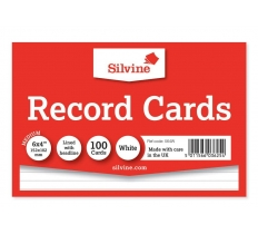 "SILVINE RECORD CARD WHITE 6"" X 4"""