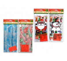 "20PACK 11X5X3"" XMAS CELLO CANDY BAGS"