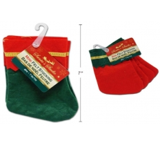4PACK 7INCH MINI FELT STOCKING WITH GOLD TRIM