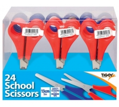 TIGER 13CM SCHOOL SAFETY SCISSORS X 24 PACK