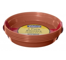 "WHITEFURZE SAUCER FOR 3 & 4"" POT SET OF 5 TERRACOTTA"