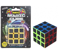 6CM X 6CM NEON MAGIC CUBE IN CLAM PACK 6ASST SIDES