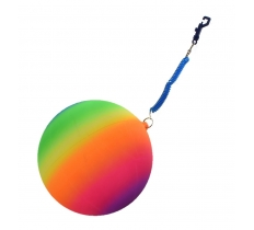 "10"" RAINBOW FOOTBALL WITH SPIRAL KEYRING"