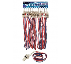 METAL WHISTLE 5.5CM WITH CORD (54p Each)