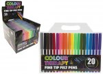 Adult Colour Therapy Colouring Fine Felt Tips 20 Pack