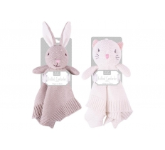 KNITTED BUNNY & CAT COMFORTER 28CM X 28CM