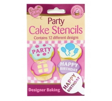 12pk CAKE PARTY STENCIL C/S