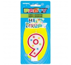 NUMBER 9 GLITTER BIRTHDAY CANDLE & DECORATION