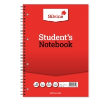 SILVINE A4 TWIN WIRE STUDENTS NOTEBOOK NARROW LINE 120 PAGES