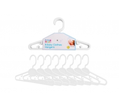 8 BABY CLOTHES HANGERS 22CM WHITE