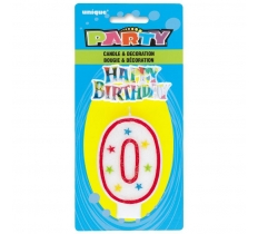 NUMBER 0 GLITTER BIRTHDAY CANDLE & DECORATION