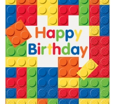 16 BUILDING BLOCKS BIRTHDAY LUN NAPKIN
