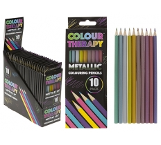 ADULT COLOUR THERAPY 10PC METTALIC PENCILS IN BOX