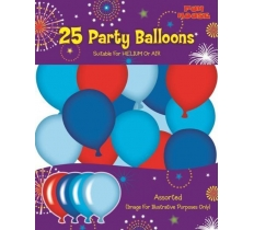 25PK PARTY BALLOONS BLUE