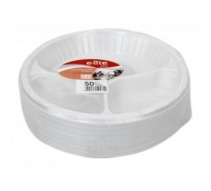 "10"" 3 Compartment Plastic Plates (50 Pack)"