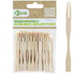 ECO CONNECTION 50PACK 9CM BAMBOO SKEWER FORKS