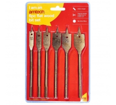 AMTECH 6PC FLAT WOOD BIT SET TITANIUM