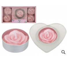6PC VOTIVE & ROSE TEALIGHT SET IN TRAY MUM IN A MILLION