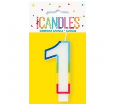 RAINBOW BORDER NUMBER BIRTHDAY CANDLE 1