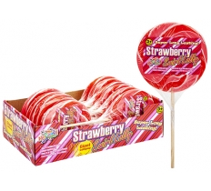 STRAWBERRY SWIRL CANDY LOLLY ON WOOD STICK